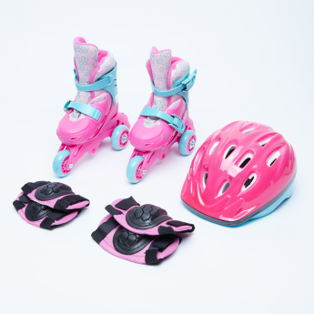 Juniors Adjustable 3-Wheel Skates and Protective Gear Set