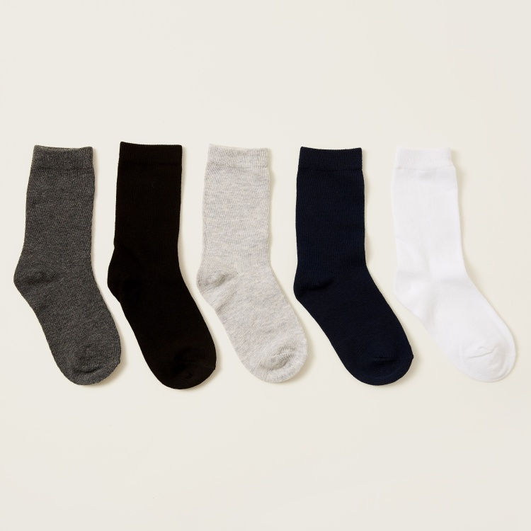Gloo Solid Crew Length Socks with Cuffed Hem - Pack of 5