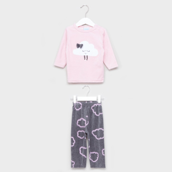 Plush Applique Detail T-Shirt and Pyjama Set