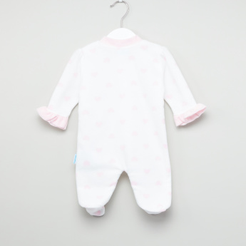 Juniors Embroidered Applique Detail Closed Feet Sleepsuit