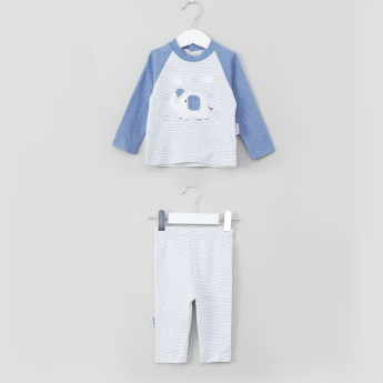 Juniors Elephant Embroidered T-Shirt and Striped Pyjama Set