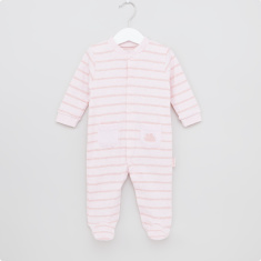 Juniors Striped Closed Feet Sleepsuit with Press Button Closure