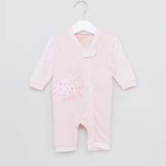 Juniors Printed Sleepsuit with V-neck and Zip Closure