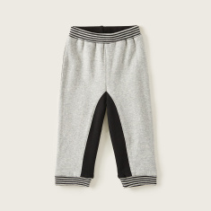 Juniors Colour Block Jog Pants with Striped Hem