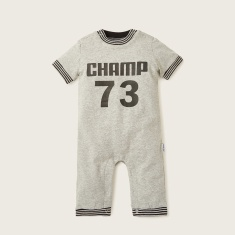 Juniors Printed Romper with Short Sleeves