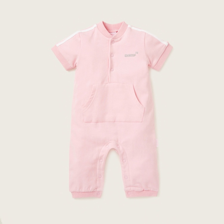 Juniors Romper with Short Sleeves and Kangaroo Pocket