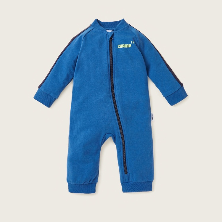 Juniors Text Print Sleepsuit with Round Neck and Long Sleeves