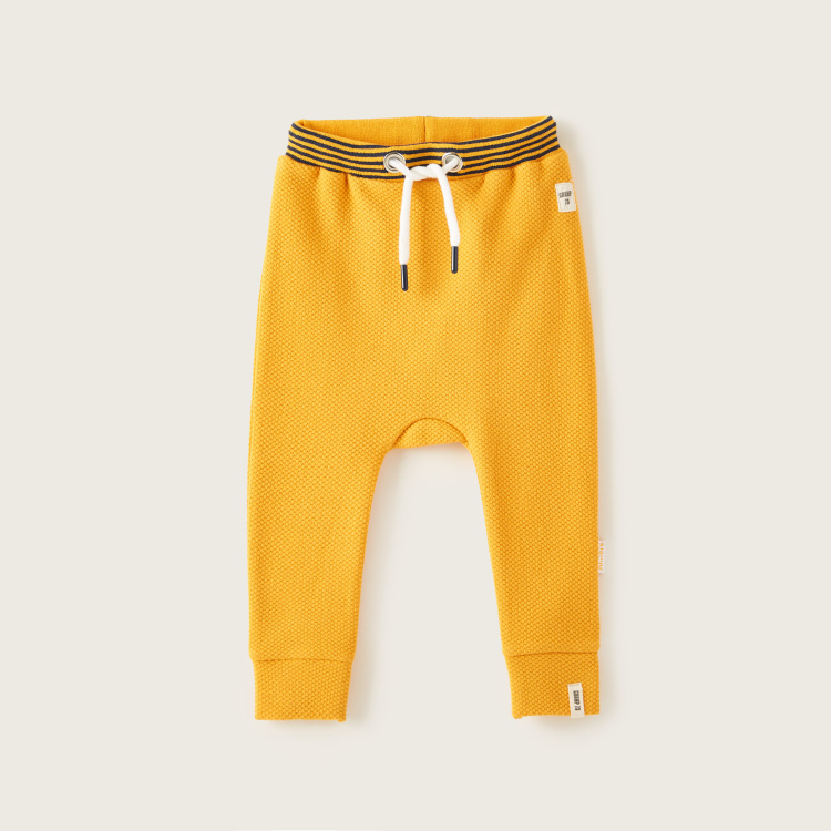 Juniors Textured Joggers with Striped Waist and Drawstring Closure