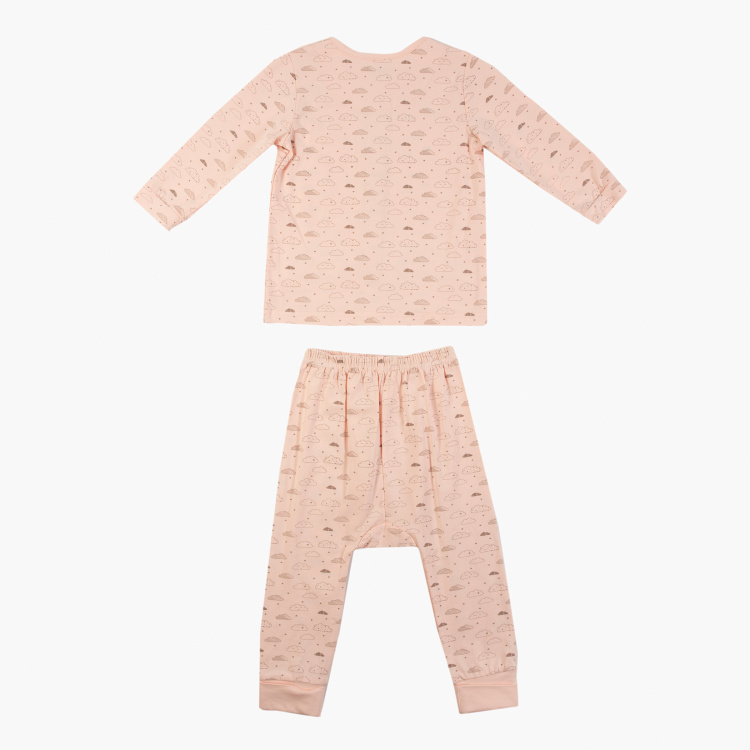 Juniors Cloud Print Front Open T-shirt and Pyjama Set
